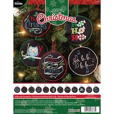 bucilla seasonal counted cross stitch ornament kits holly