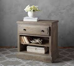 linden wood paneled bedside table pottery barn