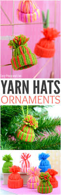 mini yarn hats ornaments diy ornaments easy peasy