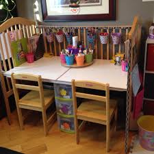 Child Craft Crib N Bed by We Upcycled Our Old Drop Side Crib Into An Art Desk Along With A
