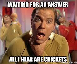 Crickets Meme - waiting for an answer all i hear are crickets captain kirk