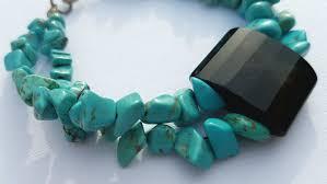 december birthstone turquoise bracelet black agate bracelet gemstone bracelet