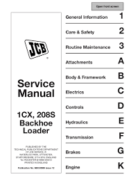 jcb 1cx backhoe loader service repair manual sn 806000 onwards