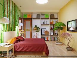 pretty chinese bamboo wall treatment for contemporary bedroom with