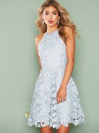 lace dress scallop lace dress nly light blue party dresses
