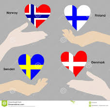 hearts over hands as the flags of norway sweden denmark and