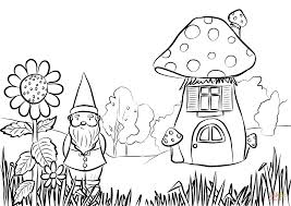 gnome in the garden coloring page free printable coloring pages