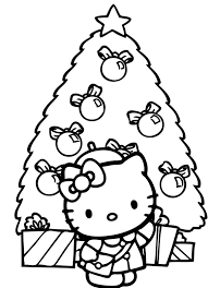 kitty decorates christmas tree coloring pages sewing