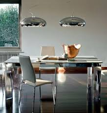 dining table pendant light two pendant lights on chrome dining table interior design ideas