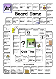 Esl Vocabulary Worksheets Board Game Quiz Time Pre Intermediate English Language Esl