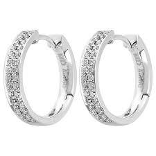 hoop diamond earrings 0 35ct f i1 shaped diamond hoop earrings