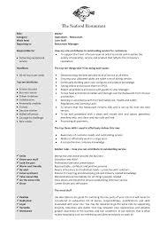 Job Description In Resume by Waitress Job Description On Resume