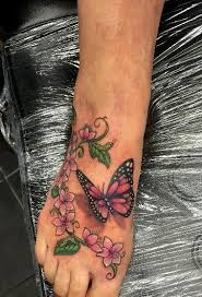 butterfly flowers on by shadow3217 tattoos