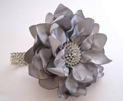 hair corsage wrist corsage grey silver satin flower rhinestone bracelet