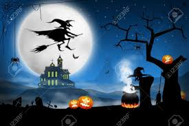 spooky halloween night witches cooking bat soup on foggy cemetery