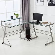 Glass Corner Computer Desks For Home L Shape Corner Computer Desk Pc Glass Laptop Table Workstation
