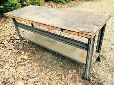 Old Woodworking Bench For Sale by Industrial Work Table Ebay