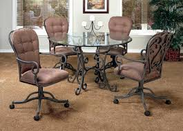 furniture black wrought iron kitchen chairs with wheels and arm