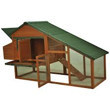 pawhut deluxe backyard wood chicken coop poultry hen house w run