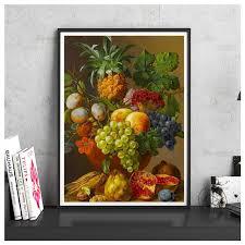 wall fruit basket number canvas painting fruit basket modern home decoration bar