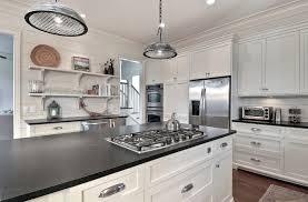 honed black granite kitchen beach style with wood paneling shelf