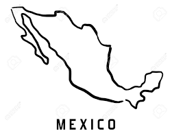 Mexico Country Map by Mexico Map Outline Smooth Simplified Country Shape Map Vector