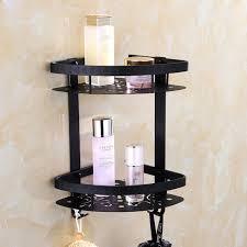 Black Bathroom Shelves Auswind Modern Space Aluminum Black Bathroom Shower Corner Shelf