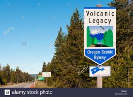 oregon volcanic legacy oregon scenic byway sign near northern