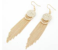 gold dangle earrings korean fashion gold tone rhinestone tassel dangle earrings