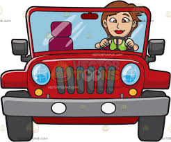 dark red jeep a woman driving a rugged red jeep cartoon clipart vector toons