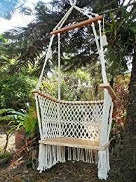 Hanging Chair Hammock Amazon Com Baby Hanging Chair Handmade Macrame Cotton Beige
