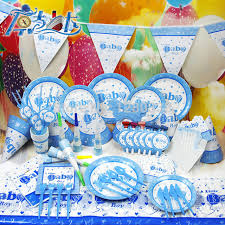 new baby shower 2016 new arrival 90pc lot luxury blue boy baby shower party set baby