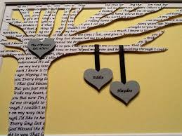 7 year anniversary gift ideas personalized wedding gift wedding song lyrics 3d paper tree