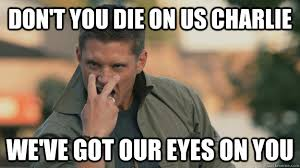 Eye Of The Tiger Meme - don t you die on us charlie we ve got our eyes on you eye of the