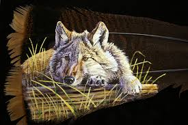 turkey feather painting turkey feather paintings of wolves dan wildlife