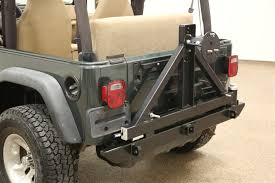 2006 tj jeep wrangler rock 4x4 8482 patriot series rear bumper with tire carrier