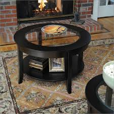 Round Coffee Table With Shelf 30 Inch Glass Top Round Coffee Table By Bay Shore Collection F68507