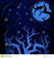 blue halloween background halloween background with silhouettes of halloween trees stock