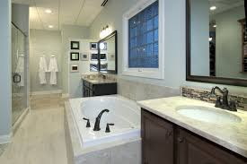 awesome brown cram white glass tile bathroom idea home with