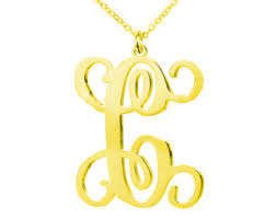 Single Initial Monogram Necklace Lettering Jewelry