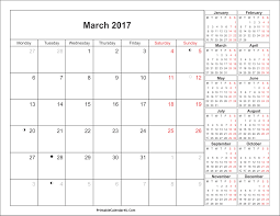 march 2017 calendar with holidays monthly calendar printable