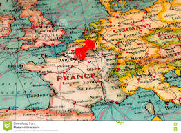 Map Paris France by Paris France Pinned On Vintage Map Of Europe Stock Photo Image