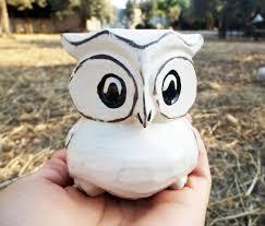 Animal Figurines Home Decor Owl Figurine Wooden Handmade Ornament