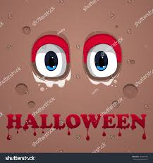 repeating background halloween monster eyes halloween text vector monster stock vector 494327968