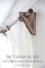 diy curtain rods restoration hardware inspired wood curtain