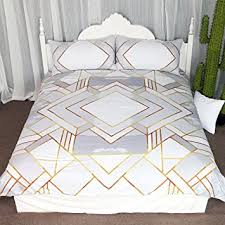 Geometric Coverlet Amazon Com Modern Gold Geometric Duvet Cover Set 3 Pieces Silver