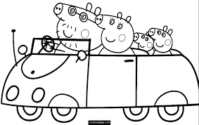 coloring pages peppa the pig peppa pig coloring pages car family peppa pig coloring pages 30724