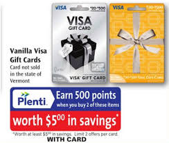 500 plenti points 5 with the purchase of 2 vanillas visas at