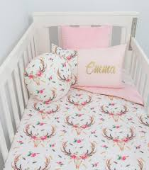 Personalised Duvet Covers Cot Set Boho Stag Baby Pink