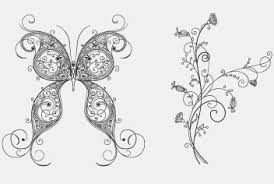 floral ornaments and butterfly psd file